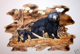 """""""MOTHER BEAR AND CUBS""""  HAND CARVED WALL HANGIN"""