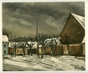 "VLAMINCK LITHOGRAPH ""LIME TREES UNDER SNOW"""