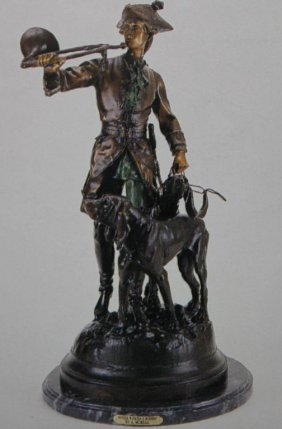 """HUNTER WITH HORNS & HOUNDS"" BRONZE SCULPTURE -"