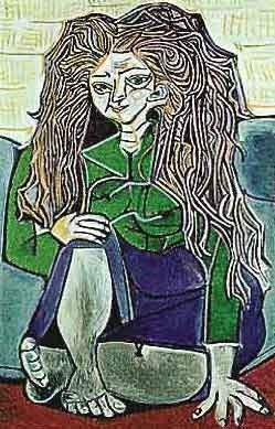 "PICASSO ""WOMAN SITTING CROSS LEGGED ON PILLOWS"""