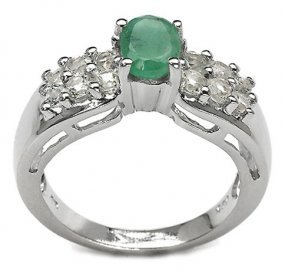 1.69 CARAT GENUINE EMERALD & WHITE TOPAZ .925 S