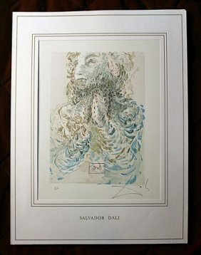 DALI HAND SIGNED ORIG. COLORED WOOD ENGRAVING -