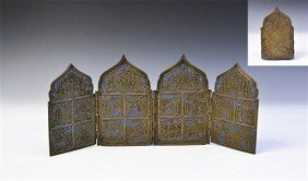 Post Medieval Russian Bronze Folding Tetraptych