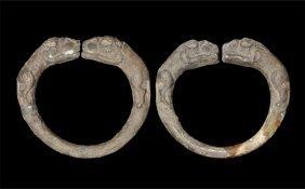 Bactrian Silver Lions' Heads Bracelet Pair