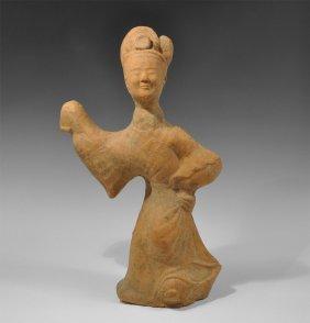 Chinese Female Terracotta Dancing Figure