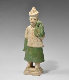 Chinese Ceramic Part-Glazed Male Figure