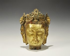 Chinese Song Style Gilt-Bronze Buddha Statue Head