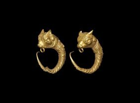 Greek Gold Bull's Head Earrings