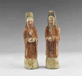 Chinese Attendant Figurine Pair