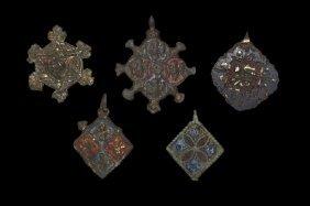 Medieval Gilt Heraldic Horse Harness Pendant Group