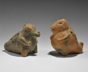 Pre Columbian Zoomorphic Ocarina Pair