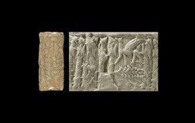 Western Asiatic Mitanni Cylinder Seal With Sphinx, God