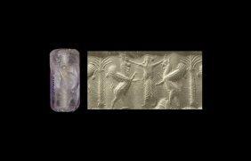 Western Asiatic Achaemenid Cylinder Seal With Hero