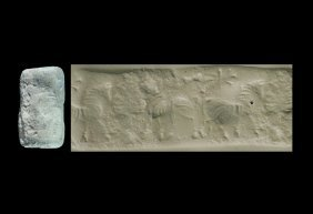 Western Asiatic Babylonian Cylinder Seal With Three