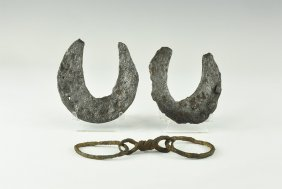 Medieval Horseshoe And Horse Bit Group