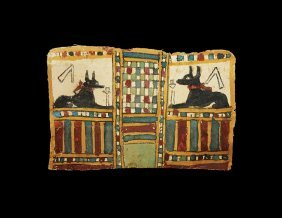 Egyptian Cartonnage Panel With Anubis