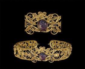 Greek Gold 'pontic Aristocratic' Diadem With Gemstone