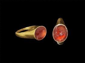 Roman Gold Ring With Emperor Intaglio