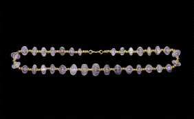 Roman Carved Amethyst Bead Necklace