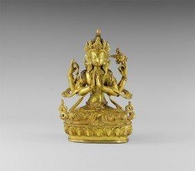 Sino-tibetan Gilt Avalokiteshvara Figurine