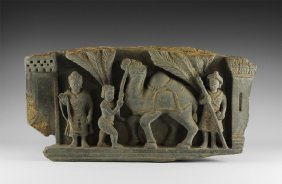 Gandharan Frieze With Camel And Warrior