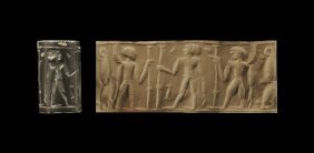 Western Asiatic Jordanian Cylinder Seal With Nude