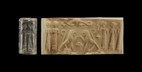 Western Asiatic Jordanian Cylinder Seal With Lions
