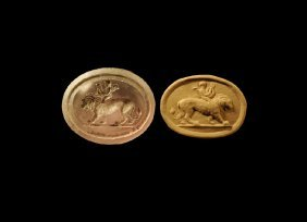 Western Asiatic Sassanian Amethyst Stamp Seal With Lion