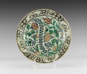 Islamic Iznik Glazed Dish