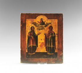 Post Medieval Russian Icon Of Saints Cosmas And Damien