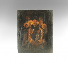 Post Medieval Russian Icon Of The Deesis