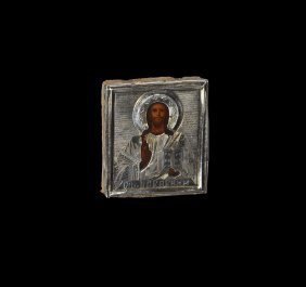 Post Medieval Russian Baptismal Icon With Christ