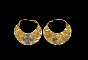 Byzantine Gold Lunate Earring Pair