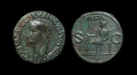 Ancient Roman Imperial Coins - Caligula - Vesta As