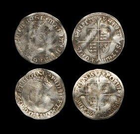 English Tudor Coins - Mary And Philip And Mary - Groat