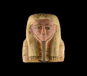 Egyptian Polychrome Sarcophagus Mask