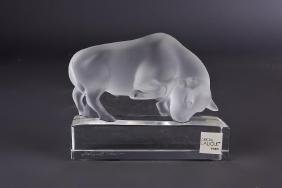LALIQUE CRYSTAL BULL STATUE