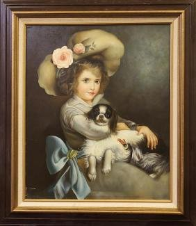 OIL ON CANVAS PAINTING OF A GIRL HOLDING A DOG