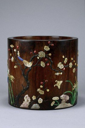 CHINESE MOTHER-OF-PEARL INLAID WOODEN BRUSH POT