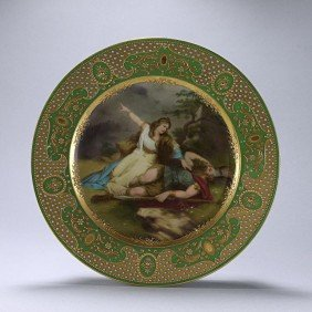 19TH C GILDED VIENNA PORCELAIN PLATE,SIGNED WAGNER