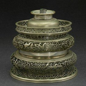 CHINESE RETICULATED BRONZE OIL LAMP