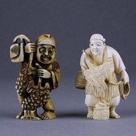 TWO JAPANESE CARVED IVORY NETSUKE FIGURE OF A MAN