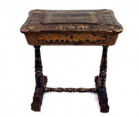 ANTIQUE CHINESE LACQUERED PAPIER MACHE WORK TABLE