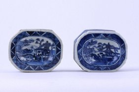 PAIR OF ANTIQUE CHINESE BLUE AND WHITE SALT DISHES