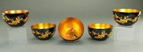 Set Of Four Japanese Black Lacquer Bowls