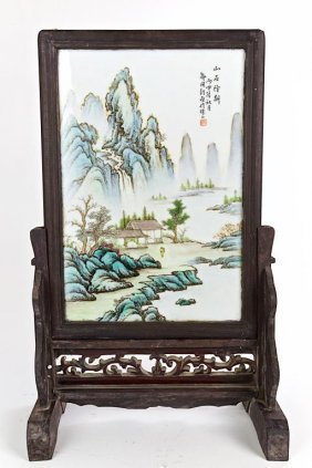 Chinese Porcelain Plaque With Landscape Scene