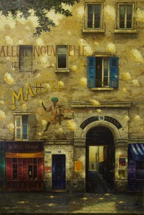 Oil Painting On Canvas Of French Storefronts