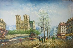 Oil Painting On Canvas Scene Of A French Street