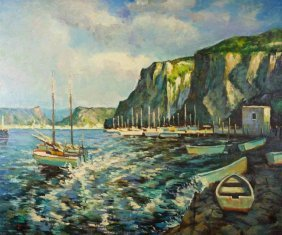 Oil Painting On Canvas Of A Harbor
