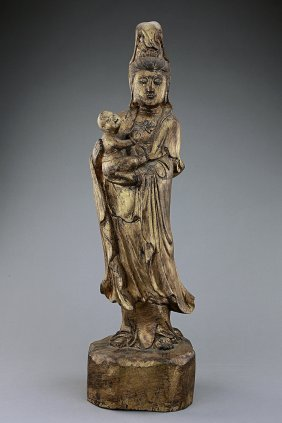 Chinese Giltwood Guanyin With A Boy